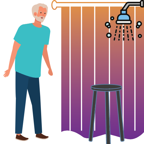 alter Mann mit Duschhocker, einer Dusche und einem Duschvorhang