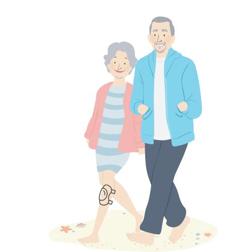 älteres Pärchen, die Frau trägt eine Bandage am Knie, geht spazieren