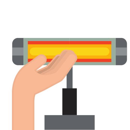 eine Infrarotlampe, die einen Arm bestrahlt