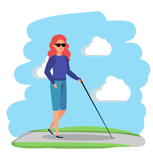 Eine Frau, in Blau gekleidet, ist mit ihrem Blindenstock draußen
