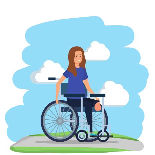 eine Frau, die draußen vor blauen Himmel auf einem Weg in einem Rollstuhl sitzt. Sie trägt ein blaues Oberteil und der Rollstuhl ist schwarz.