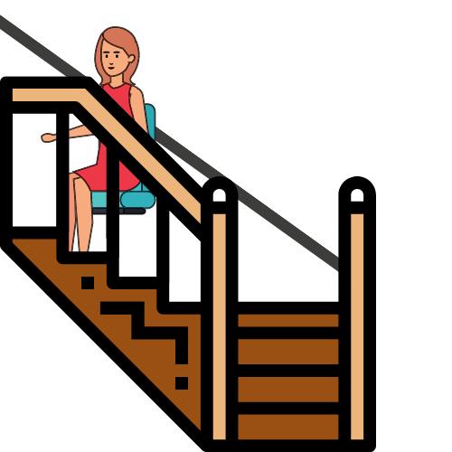 Eine Frau im roten Kleid fährt eine braune Treppe im Treppelift hoch