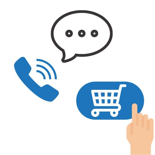 Telefonhörer mit Sprechblase und Hand mit Warenkorb