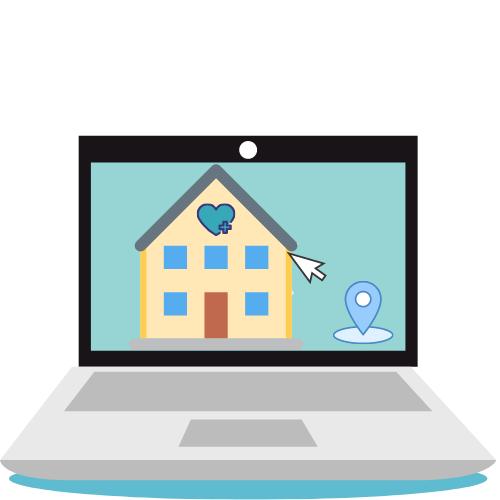 Laptop mit gelben Haus mit Mapspunkt und Maus auf dem Desktop
