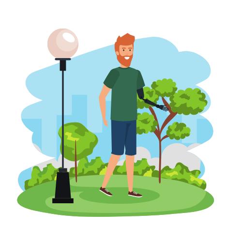 Mann mit Armprothese in einer Landschaft