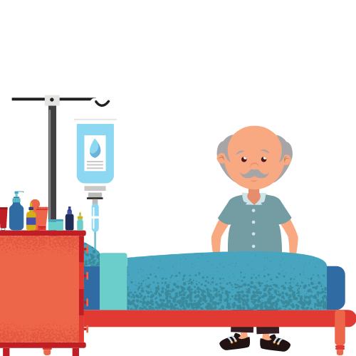 Ein Nachttisch mit vielen Pflegeprodukten neben einem Bett mit Tropf, dahinter ein Mannmit blauen Oberteil