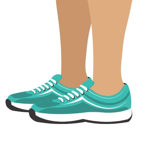 türkisfarbene Schuhe, die getragen werden