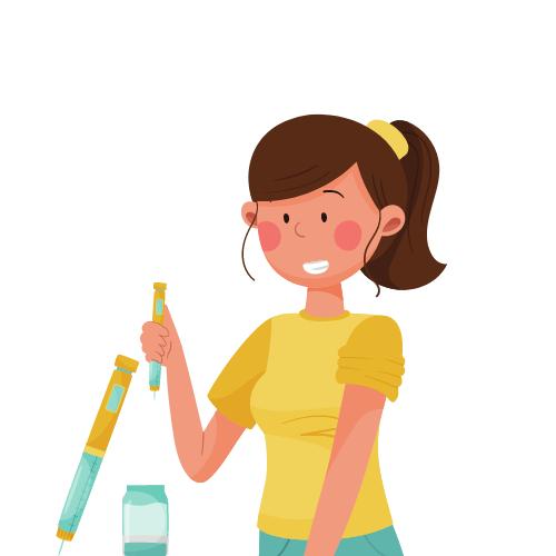 eine Frau mit einer Spritze