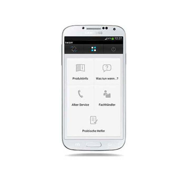 Ein Handy mit einer speziellen Software zur Steuerung eines e-fix Modelles. Das Handy ist weiß und vor einem weißen Hintergrund.